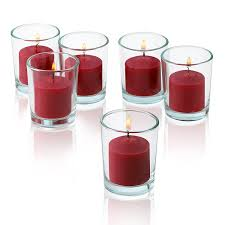 amazon com 10 hour red apple cinnamon scented votive candles set