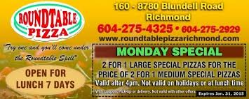 round table pizza san pablo ca monday pizza special at round table pizza restaurant coupons