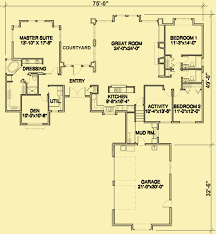 one level floor plans one story craftsman house plans with a separate master