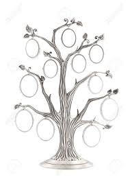 silver genealogical family tree with small oval frames stock photo