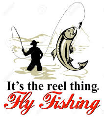 graphic design illustration of fly fisherman catching trout with