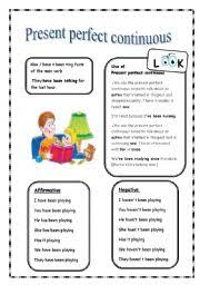 english teaching worksheets present perfect continuous progressive