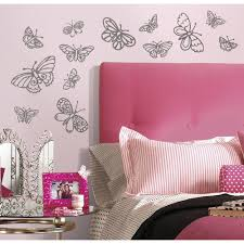 roommates 5 in x 11 5 in glitter butterflies peel and stick wall