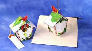 birch birdhouse u0027 pop up christmas card ornament youtube