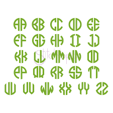 monogram letter two letter circle monogram digital machine embrodiery font