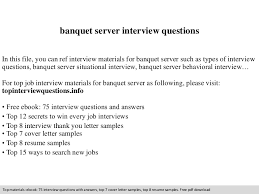 banquet server interview questions