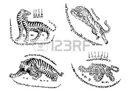 tiger traditional thai art tattoo ancient royalty free cliparts