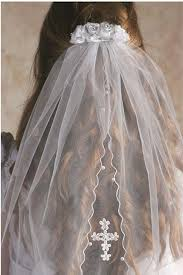 holy communion veils white veil with cross appliqué and white satin roses