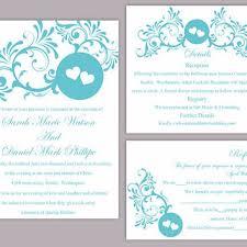 Diy Wedding Invitations Templates Shop Turquoise Wedding Invitation On Wanelo