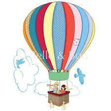 hot air balloon fabric wall sticker by chocovenyl