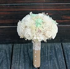 wedding flowers keepsake handmade wedding bouquet small ivory mint bridesmaid