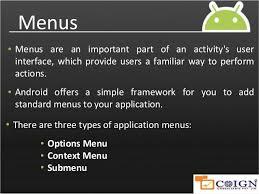 android menu android menus