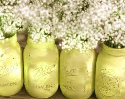 Mason Jar Vases For Wedding Lilac Weddings Distressed Mason Jars Painted Glass Jar