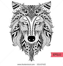 coloring pages tattoos detail zentangle wolf coloring pagetattoo t stock vector 331437422