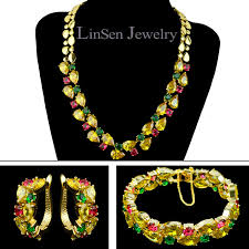 gold necklace bracelet earrings set images Beautiful multicolor mona lisa cubic zirconia jewelry sets for jpg