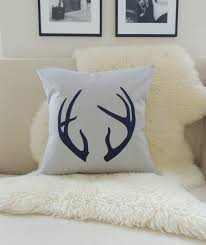 antler pillow cover pick a color feather grey u0026 navy blue