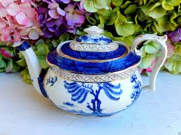 willow pattern jam pot beautiful antique booths real old willow teapot flow blue gold