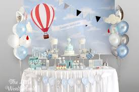 hot air balloon decorations kara s party ideas blue and white hot air balloon birthday party
