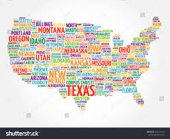 Usa Map Cities by Usa Map Word Cloud Collage Most Stock Vector 455215429 Shutterstock