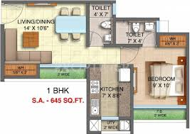 645 sq ft 1 bhk floor plan image runwal realty pvt ltd my city
