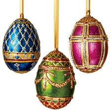 russian imperial egg ornament set resin egg and ornament