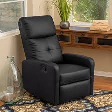 Black Leather Recliner Teyana Black Leather Recliner Club Chair Kitchen Dining