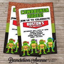 turtle ninja birthday party invitation dandelion avenue
