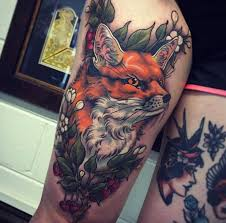 fox on right thigh by tom bartley
