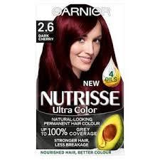 rich cherry hair colour garnier nutrisse ultra permanent hair dye dark cherry 2 6 superdrug