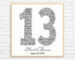 wedding gift by year 13th anniversary etsy