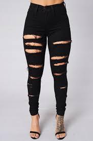 Black Skinny Jeans With Holes Stylish High Waist Broken Holes Black Cotton Blends Skinny Pants