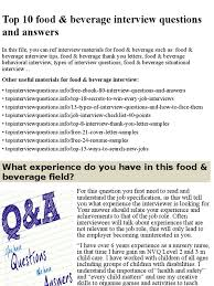 sample resume for food and beverage supervisor top 10 food beverage interview questions and answers pptx job top 10 food beverage interview questions and answers pptx job interview interview