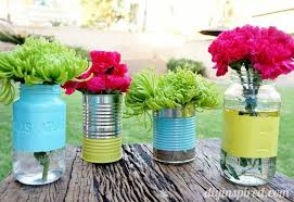 jar vases recycled can and jar vases diy inspired