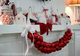 White Christmas Mantel Decorations by Christmas Mantel Red And White Themed Hoosier Homemade