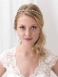 gold headband single strand pearl wedding gold headbands usabride