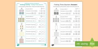 introduction to fractions of amounts finding three quarters