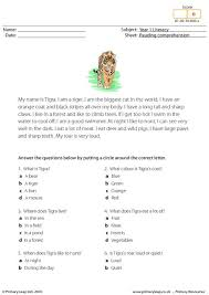 primaryleap co uk reading comprehension i am a tiger worksheet