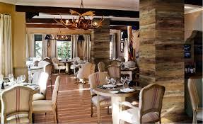 restaurant rustic wooden pillars interior design