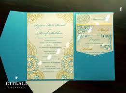 henna wedding invitations henna paisley teal gold pocket folder wedding invitations