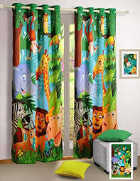 Jungle Curtains For Nursery Jungle Animals Window Curtains Set Of 2 Curtain