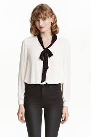 black pussybow blouse bow blouse white black h m gb