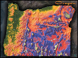 Northern Oregon Coast Map by Oregon Topography Map Physical Features U0026 Mountain Colors