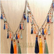 tassel necklace bead images Organic wooden beads tassel necklace handmade bali organic jpg