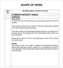 Scope Of Work Template Excel 7 Construction Scope Of Work Templates Word Excel Pdf Formats