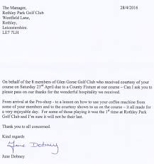 thanksgiving letter for hospitality testimonials rothley park golf club