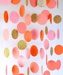 Gold And Pink Party Decorations Garland Paper Garland In Blush Pink Orange Coral And Gold