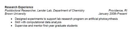 Experience On Resume Examples by Resumes Learn Science At Scitable
