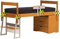 Lifespace II Modular Furniture University Housing - Half bunk bed