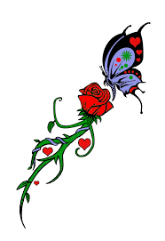 29 best butterfly heart rose tattoo design images on pinterest