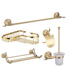 5 Piece Bathroom Set by Shiny Gold Brass Vintage 5 Piece Bathroom Accessory Sets